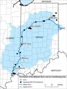 Examining Anthropogenic Impacts Wabash River System Map